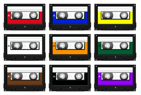 colord: collection of nine different colord cassette tape illustrations