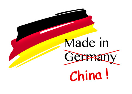 falsification: symbolic illustration for product piracy of made in germany products, forged by china