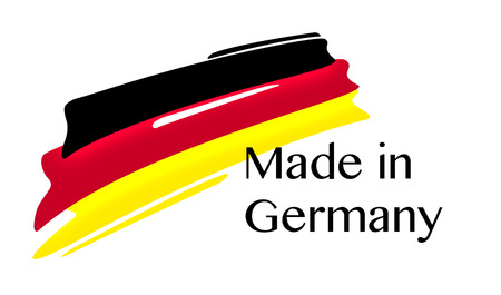made in germany: Made in Germany Quality Label with german Flag on white background, Stock Photo