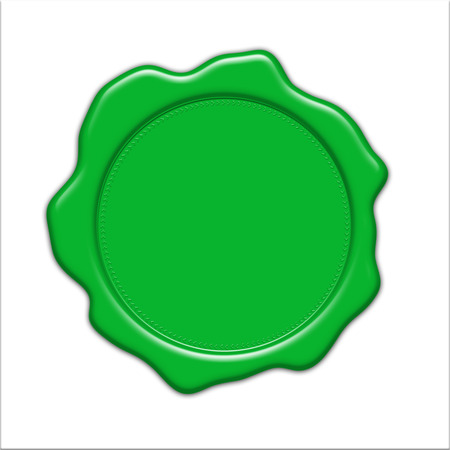blank green wax seal illustration, isolated on white background