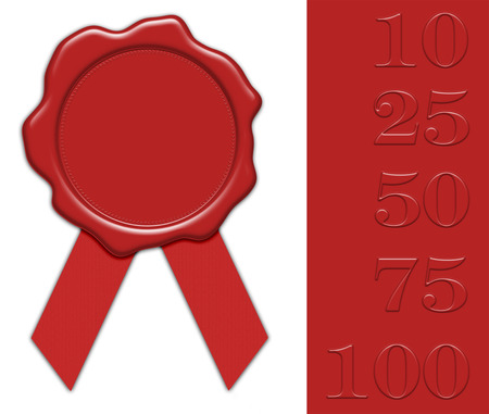 blank red wax seal illustration with ribbon, with collection of different jubilee numerals for own editing, isolated on white background Stock Photo