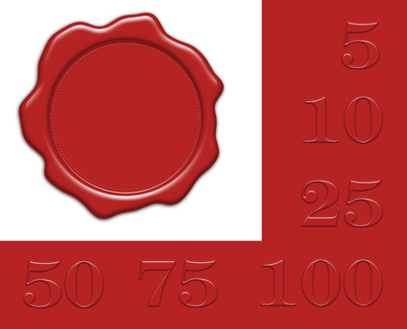 blank red wax seal illustration with collection of different jubilee numerals for own editing, isolated on white background
