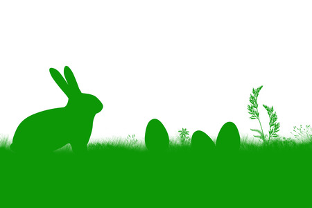 grass flowers: green landscape illustration with bunny, easter eggs, grass, flowers on white background