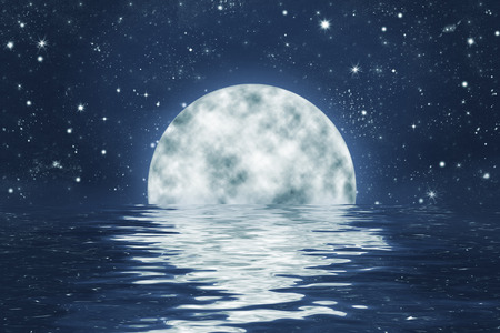 night sky: moonset over water with waves, with full moon on blue night sky with stars