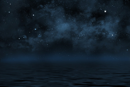 starry night sky illustration with stars and blue nebula, with reflection in water with waves