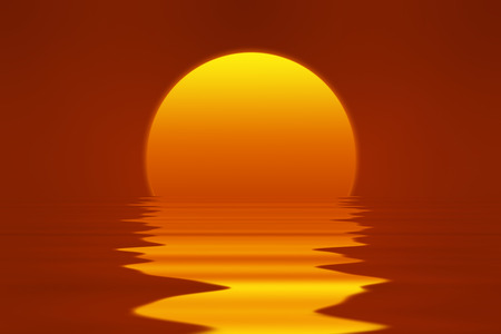 clear sky: romantic sunset illustration with red clear sky, bright yellow and orange sun, reflection in water