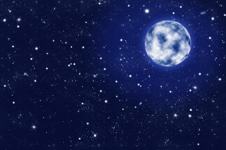 heavenly light: shiny full moon on blue starry night sky illustration Stock Photo