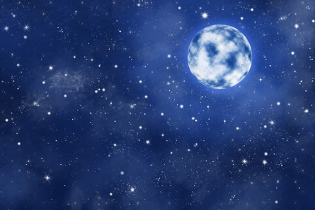 bright moon on blue starry night sky with nebula, illustarion