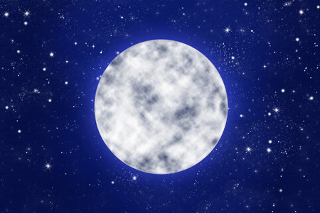 blue stars: bright full moon on blue night sky with stars, illustration Stock Photo