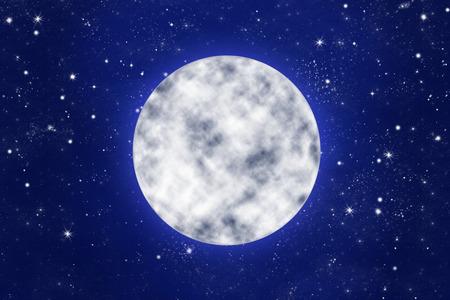 noche y luna: brillante luna llena en el cielo azul noche con estrellas, ilustración
