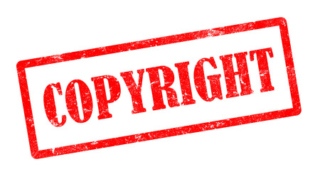 plagiarism: red grunge copyright stamp with rectangle frame on white background, illustration Stock Photo