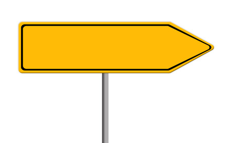 blank yellow road sign template for text with arrow to right direction, white background Stock Photo - 39444728