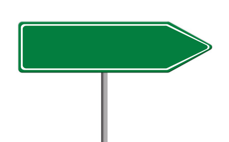 traffic pole: blank green traffic sign template on silver pole, white background