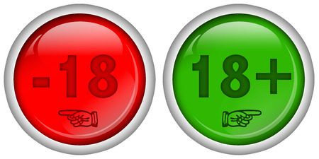 adult only: set of red and green round web buttons for 18   content Stock Photo