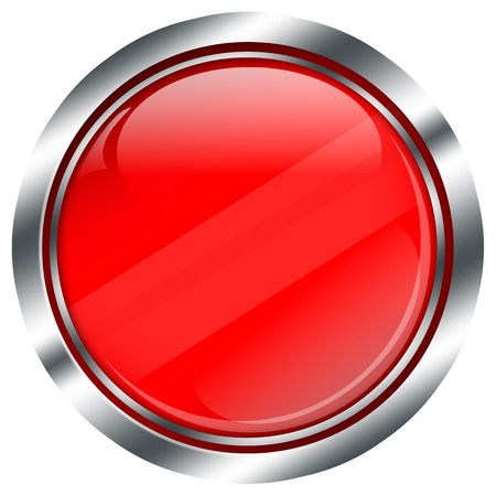 chrome border: empty red button with chrome border and reflections, illustration on white background Stock Photo