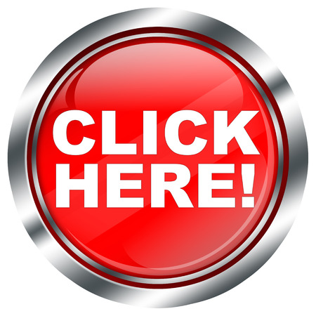 click here: red click here button with chrome border and reflections, illustration on white background Stock Photo