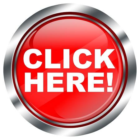 klik: rode klik hier knop met chromen rand en reflecties, illustratie op witte achtergrond Stockfoto