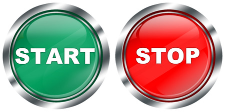 activate: green start and red stop button with metallic effect border and reflections