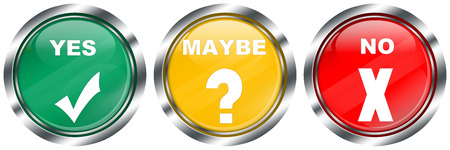 yes maybe no decision buttons on white background