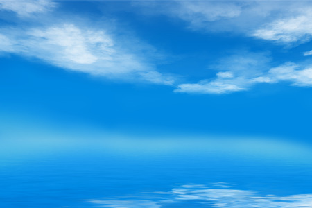 nebulous: cloudy blue summer sky over wavy sea, with nebulous horizon, background, Stock Photo