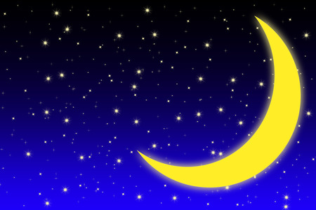 starfield: simple designed starfield background with bright stars and yellow shining moon on blue and black night sky Stock Photo