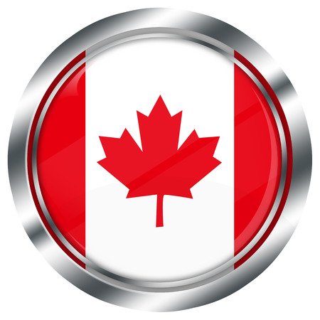 canadian flag: glossy round canadian flag button for web design with metallic border, illustration, white background, isolated,