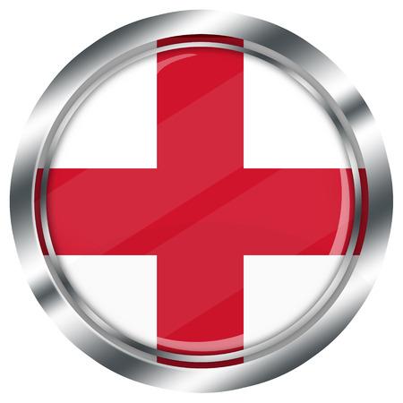 english flag: glossy round english flag button for web design with metallic border, illustration, white background, isolated,