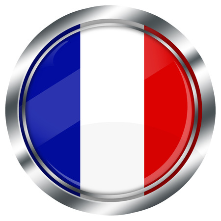 french flag button for web design, with reflections and metallic border, illustration, on white background,