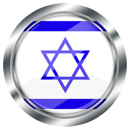 israel flag: glossy round israel flag button for web design with metallic border, illustration, white background, isolated,