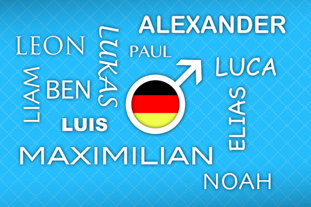 liked: most popular german newborn boy names with german flag button on blue background