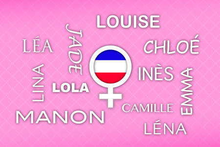 favored: most popular french newborn girl names with flag button on pink vintage background Stock Photo