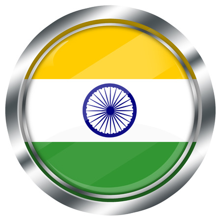 glossy round indian flag button for web design with metallic border, illustration, white background, isolated, illustration