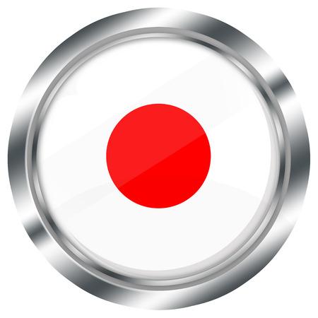 bandera japon: botón de la bandera de brillante ronda japonés para el diseño web con borde metálico, ilustración, fondo blanco, aislado,