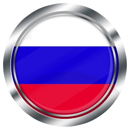 russian flag: glossy round russian flag button for web design with metallic border, illustration, white background, isolated, Stock Photo