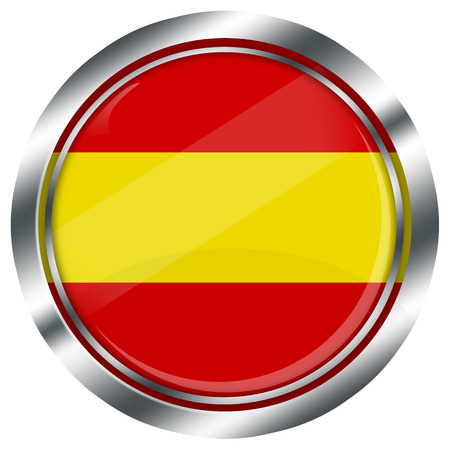 spanish flag: glossy round spanish flag button for web design with metallic border, illustration, white background, isolated,