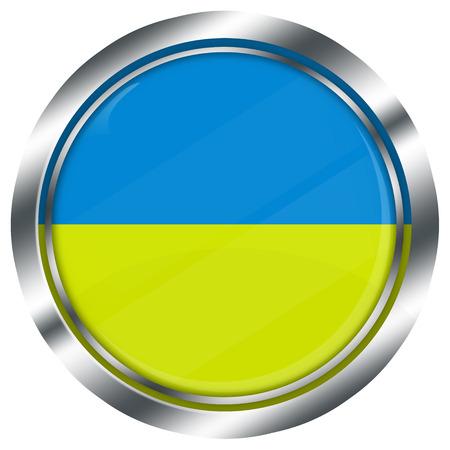 ukrainian flag: glossy round ukrainian flag button for web design with metallic border, illustration, white background, isolated,