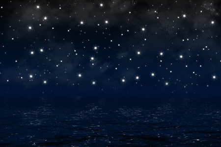 dark nebula: dark blue night sky over ocean with nebula, clouds and shiny stars, background