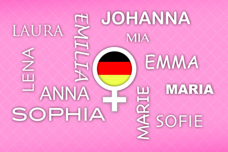 favored: most popular german newborn girl names with german flag button on pink retro background