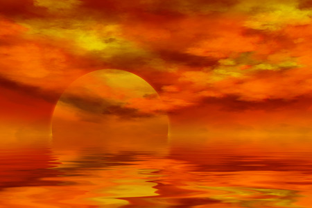 sky  dramatic: dramatic summer sunset over sea with cloudy sky, golden sun, background, illustration