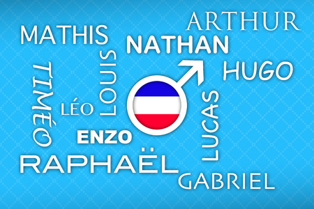 favored: most popular french newborn boy names with flag button on blue vintage background