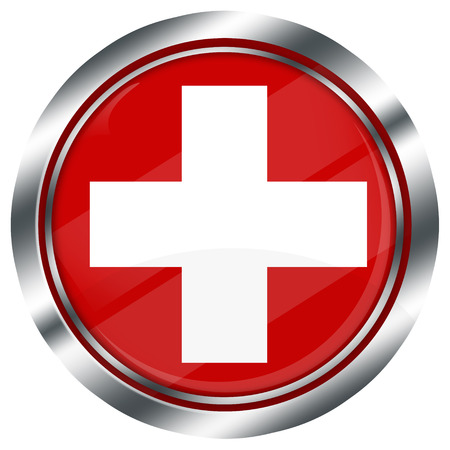 swiss flag: glossy round swiss flag button for web design with metallic border, illustration, white background, isolated,