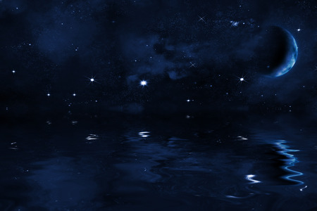 gaseous: starry night sky background with halfed moon over sea, with bright stars and blue nebula, illustration