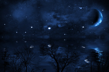 waterfront: starry night sky background with halfed moon over sea, with bright stars and blue nebula, illustration, view from waterfront Stock Photo