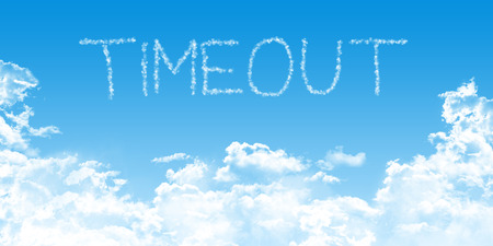 cumulus cloud: conceptual business illustration with timeout cloud fonts on blue sky background, with cumulus clouds,