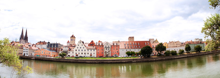 regensburg: waterfront panorama of historic old town in regensburg, germany,