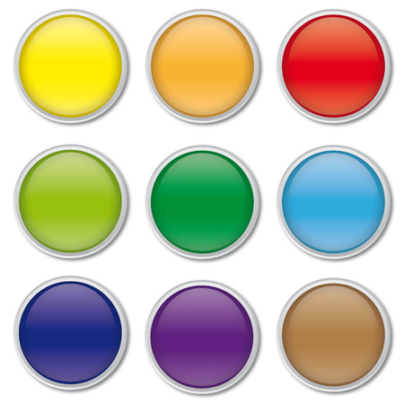chrome border: collection of round glossy web buttons with chrome border, vector,
