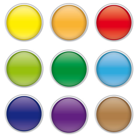 chrome border: set of round glossy push buttons for web design, with reflective chrome border Illustration