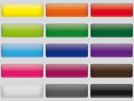 Conjunto de botones rectangulares de inserción Web con un diseño brillante Foto de archivo - 43807362