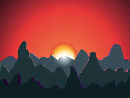 bright sun: warm sunset over mountains, vector background, with mountain silhouettes and bright sunbeams on red sky