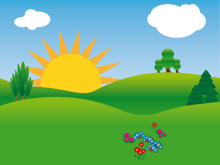 idyllic: idyllic summer landscape with green grass hills, sun, trees, flowers and blue sky with clouds, vector,